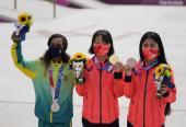 El skate femenino modalidad street, el podio más novel en la historia del olimpismo. Foto: AP.