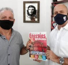 El representante de la CGT, Sebastián Viscuso, intercambió con el coordinador nacional de los CDR, Gerardo Hernández Nordelo. Foto: Archivo/RHC.