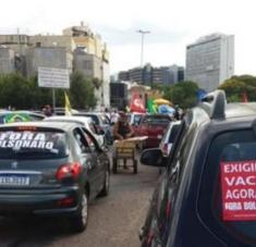 Las protestas contra Bolsonaro se han realizado con distanciamiento social para evitar la propagación del coronavirus. Foto: @CUT_Brasil