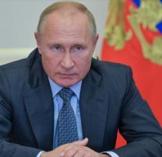 El presidente ruso, Vladimir Putin, en una reunión por videoconferencia con autoridades del país, 8 de octubre de 2020. Foto: AFP