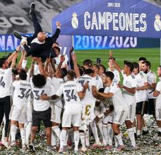 Los dirigidos por Zidane levantaron su título 34 de Liga con una racha de diez triunfos en línea tras la reanudación.
