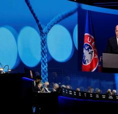 El presidente de la FIFA, Gianni Infantino, durante el 45 Congreso Ordinario de la UEFA, Montreux (Suiza), el 20 de abril de 2021. Foto: Richard Juilliart / UEFA / Reuters
