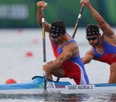 Serguey y Fernando materializaron el tiempo más rápido de una canoa biplaza en el contexto olímpico. Foto: Cortesía del colega Jesús Muñoz.
