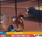 Yaimé Pérez sigue dando muestras de sólida aspirante al cetro olímpico, con secuencia de cuatro envíos sobre 66 metros en Castellón, España. Fotos: Tomadas de Deporcuba.