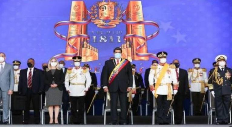 Maduro durante un acto de parada militar para conmemorar los 209 años de la Firma del Acta de la Independencia de Venezuela y día de la Fuerza Armada Nacional B.