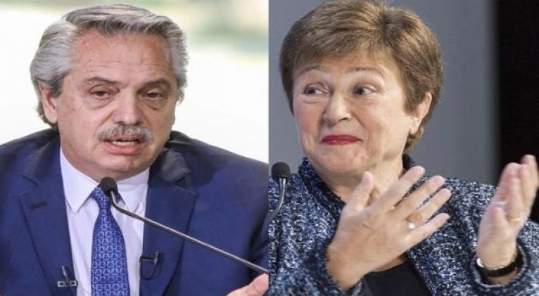 El presidente Alberto Fernández se comunicó este miércoles con la directora gerente del FMI, Kristalina Georgieva. Foto: Página 12