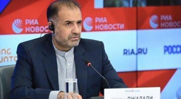 El embajador de Irán en Rusia, Kazem Yalali, en una rueda de prensa en Moscú, la capital rusa.
