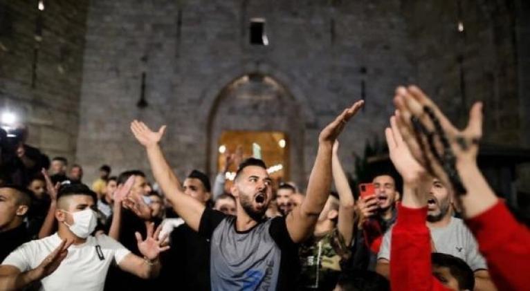 Jerusalén Este vive manifestaciones propalestinas desde hace varias semanas en reclamo del derecho de hacer campaña electoral. Foto: Twitter: OLP