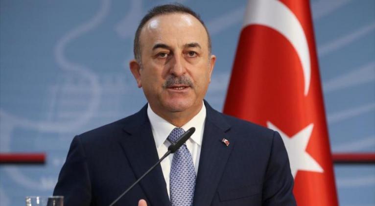 El canciller de Turquía, Mevlut Cavusoglu, en una conferencia de prensa en Tirana, Albania, 12 de febrero de 2020. Foto: Reuters